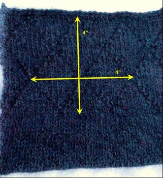 "Measure 4"" [10 cm] lengthwise and count the number of rows in those 4"" to get the row gauge. Measure 4"" widthwise and count the number of stitches in the width to the the stitch gauge. Divide each of these values by 4 to get the number of rows/stitches per inch."